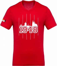 Köln T-Shirt 1948 V - Neck Unisex Rot Weiß