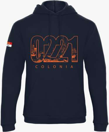 "Köln Sweat Shirt mit Kapuze Unisex - Blau - Druck Orange ""0221"""