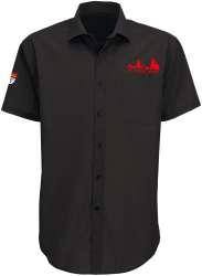 Köln Hemd Herren Schwarz - Stick Rot