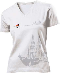 Köln T-Shirt mit Dom V - Neck Damen weiss