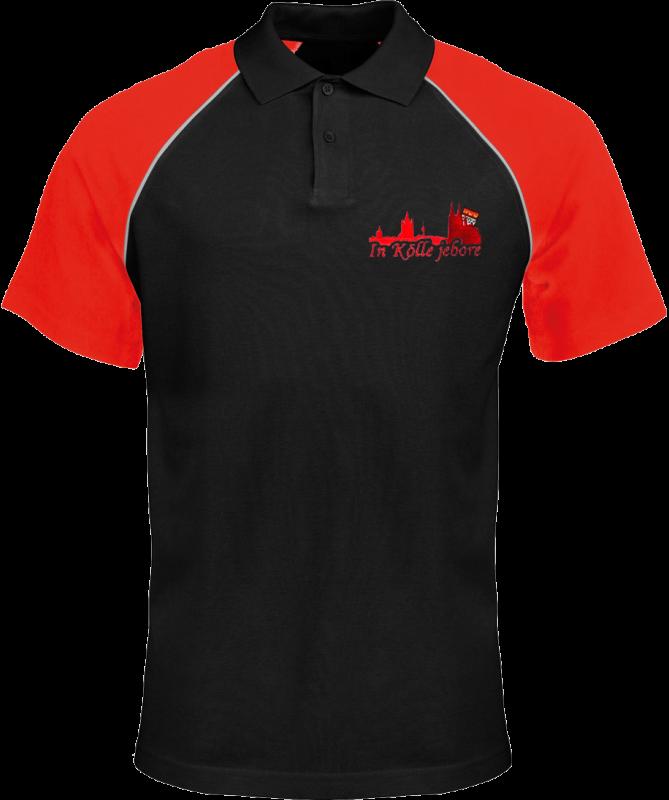 Köln Polo Shirt Unisex Schwarz/Rot - mit Stickerei - Größen S bis 4XL